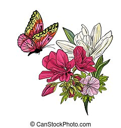 Butterfly flying above on lillies and begonia flowers, full color sketch, pink, green and white tints. Hand drawn vector illustration.