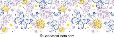 Butterfly garden horizontal seamless pattern background