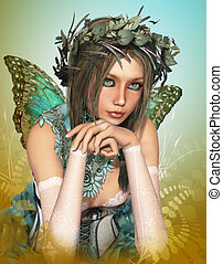Butterfly Girl - a cute fairy with butterfly wings