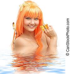 butterfly girl in water #2