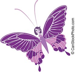 Butterfly girl relaxed and colored, vector or color illustration.