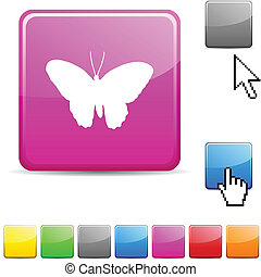 Butterfly glossy button.