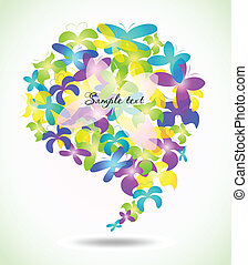 Butterfly glossy speech icons. Vector