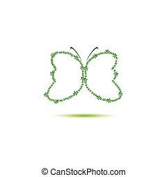 butterfly green vector