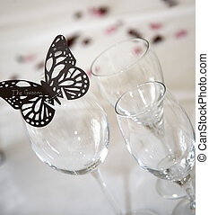 Butterfly groom place setting