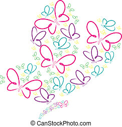 Hand drawn butterflies in a butterfly shape in vector format.