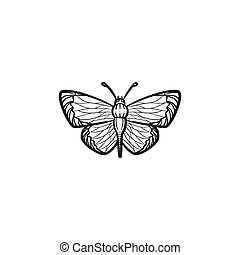 Butterfly hand drawn sketch icon.