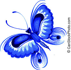 butterfly - hand drawn, vector, illustration in Ukrainian...