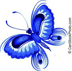 butterfly - hand drawn, vector, illustration in Ukrainian...