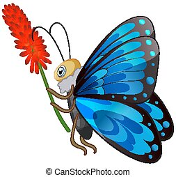 Butterfly holding flower on white background