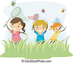 Butterfly Hunters - Illustration Featuring Kids Hunting...