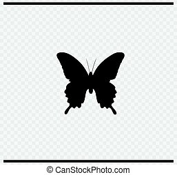 butterfly icon black color on transparent