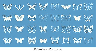 Butterfly icon blue set vector