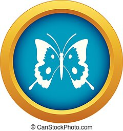 Butterfly icon blue vector isolated