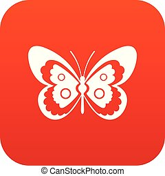 Butterfly icon digital red