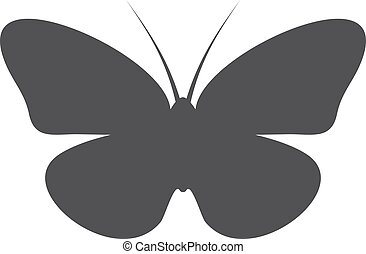Butterfly icon in black on a white background. Vector illustration