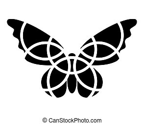 Butterfly icon. Mosaic butterfly clipart. Monochromatic. Isolated