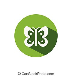Butterfly. Icon on a green circle. Spring vector illustration