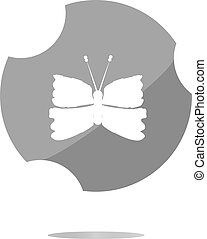 Butterfly Icon on Internet Button . Flat sign isolated on white background