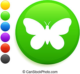 butterfly icon on round internet button