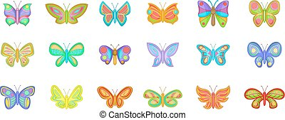 Butterfly icon set, cartoon style