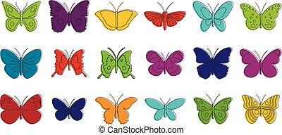 Butterfly icon set, color outline style