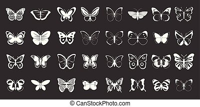 Butterfly icon set grey vector