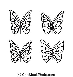 Butterfly icon set - Butterfly icon collection on a white...