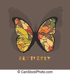 Butterfly icon style with shadow on brown background.