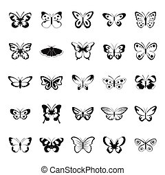 Butterfly icons set, simple style