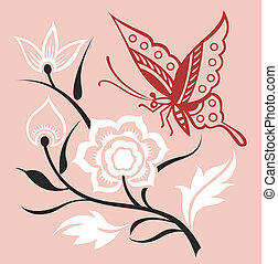Butterfly illustration with flower