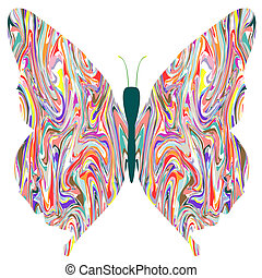 butterfly in abstract colors