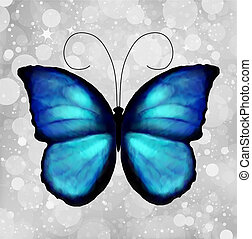 Butterfly In Blue Tones. Vector