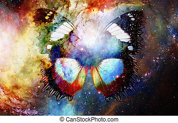 butterfly in cosmic space. Color cosmic abstract background.