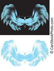 Butterfly in curvy blue lines on black and white background ...