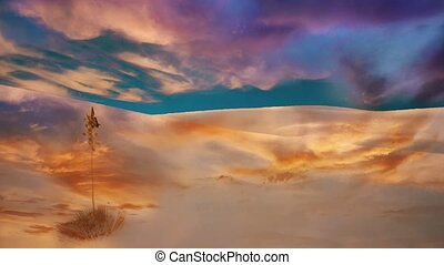 Butterfly in Fairy tale desert. Soft pastel colors