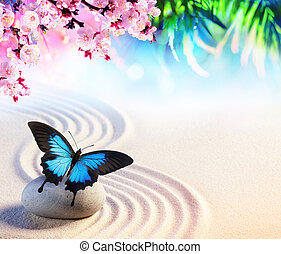 Butterfly In Japanese Rock Garden With Sakura Blossoms - Zen Concept