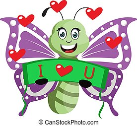Butterfly in love, illustration, vector on white background.