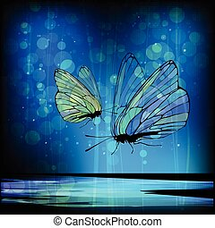 Butterfly in love with transparent wings against