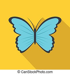 Butterfly in nature icon, flat style.