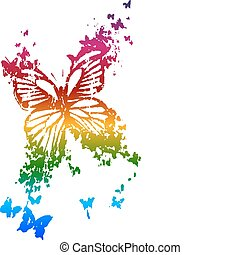butterfly in rainbow style