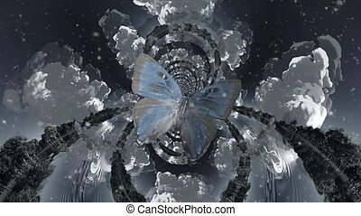 Butterfly in surreal nature. Fractal
