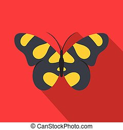 Butterfly in wildlife icon, flat style.
