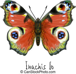 Butterfly Inachis Io. Watercolor imitation. Vector...
