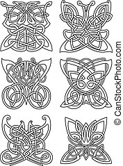 Butterfly insect tribal celtic ornaments set with swirl...