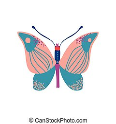 Butterfly Insect with Colorful Wings Vector Illustration