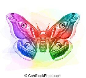 Butterfly. Iridescen colours. Vector illustration.