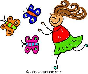 little girl chasing butterflies - toddler art series