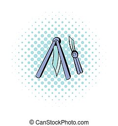 Butterfly knife icon, comics style