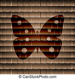 butterfly., lakás, modern, háló, gombol, és, hely, helyett, -e, szöveg